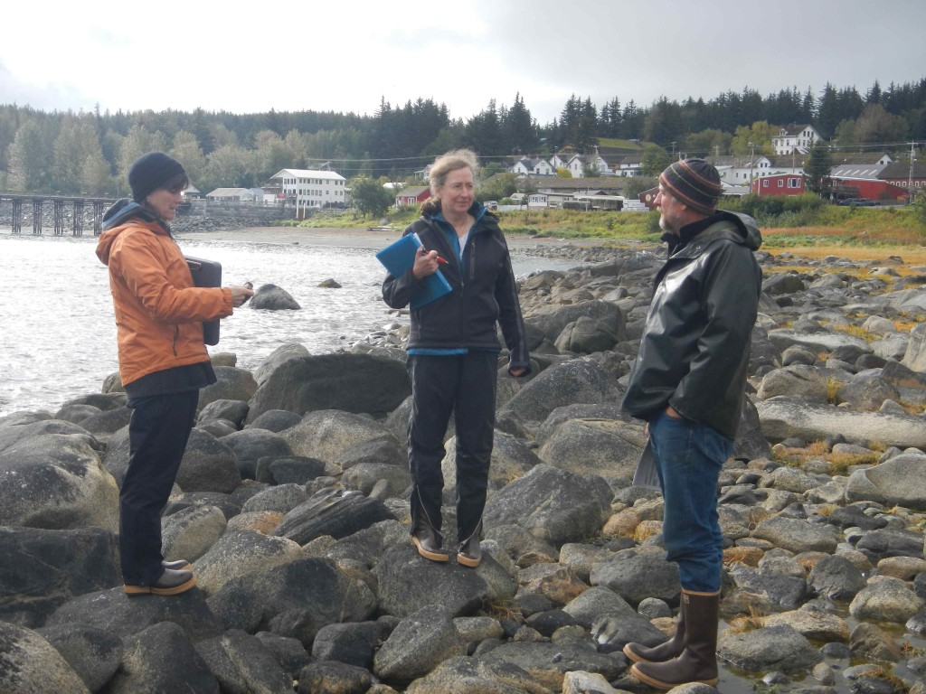 Chiska Derr, Catherine Pohl, and Richard Chapell discuss a tidal wetland in Haines